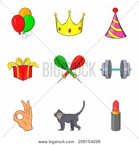 Excellent performance icons set. Cartoon set of 9 excellent performance vector icons for web isolated on white background