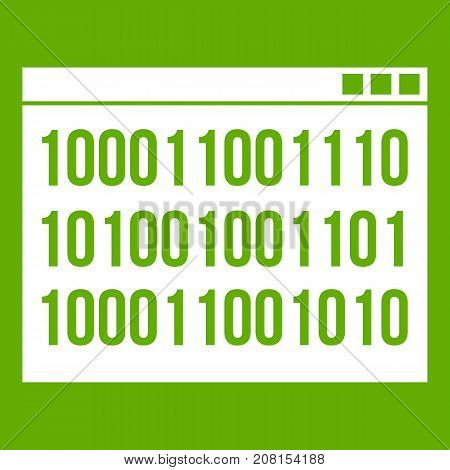 Binary code icon white isolated on green background. Vector illustration