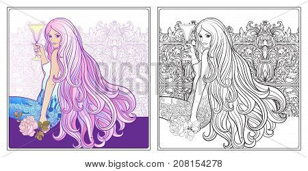 Young beautiful girl with long hair with glass of wine. Stock line vector illustration. Colouring page for adult coloring book with sample