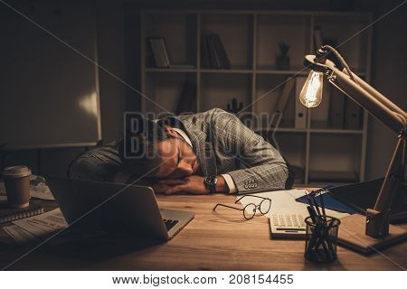 Sleeping Businessman In Office