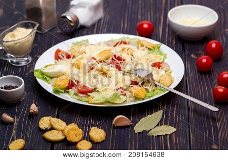 Seafood Caesar Salad with Shrimps Salad Leaf Croutons Cherry Tomato and Parmesan Cheese and ingredients