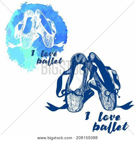 pointes female ballet shoes. Vector illustration of gym ballet shoes. Watercolor vector illustration. Stylish picture