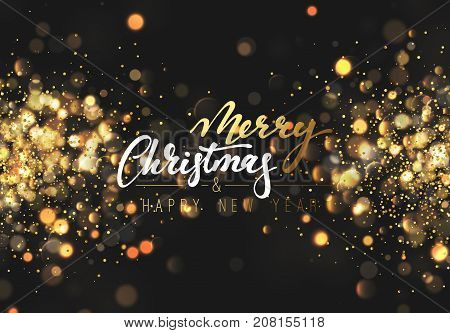 Christmas background with lights gold bokeh. Xmas card. Magic holiday card, poster, banner. Night bright golden light background