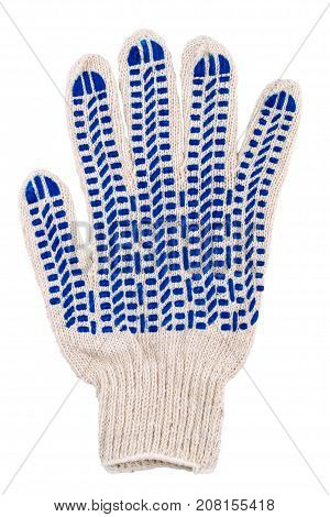 Protective glove with blue spots of rubber isolated on white background