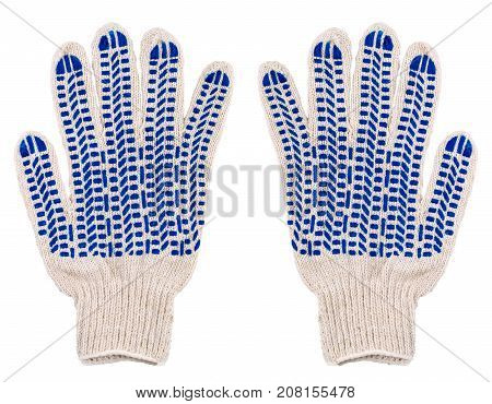 Protective pair gloves with blue spots of rubber isolated on white background