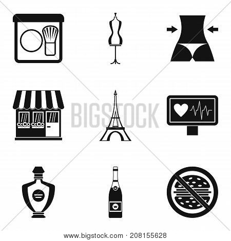 Perfect body icons set. Simple set of 9 perfect body vector icons for web isolated on white background