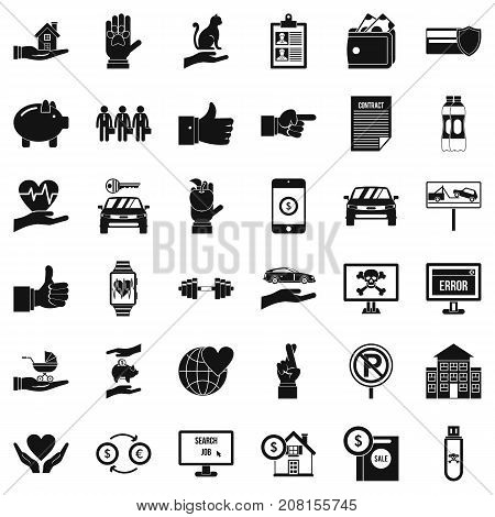 Error icons set. Simple style of 36 error vector icons for web isolated on white background