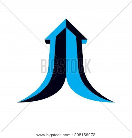 Vector arrow pointing upwards. Company increasing concept. Corporate abstract logo isolated on white background.