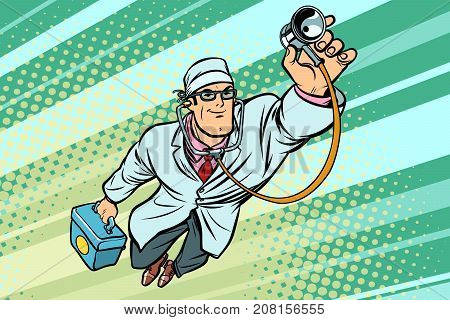 Doctor physician with stethoscope flying superhero. Comic book cartoon pop art retro vector illustration drawing