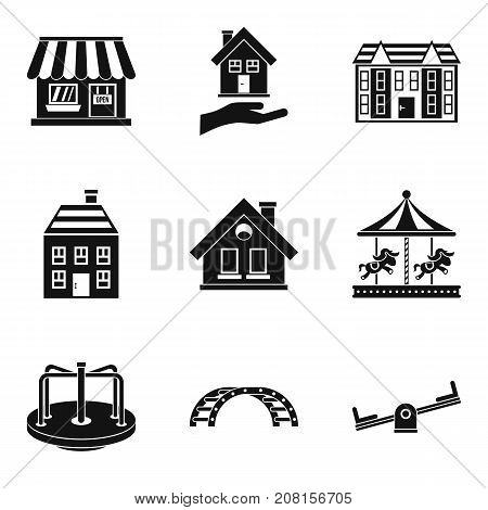Park improvement icons set. Simple set of 9 park improvement vector icons for web isolated on white background