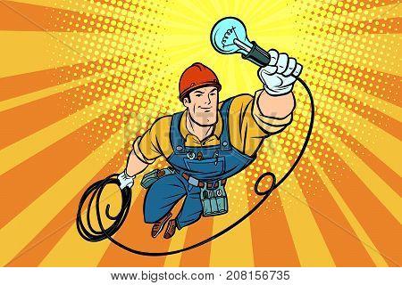 worker electrician light bulb flying superhero. Comic book cartoon pop art retro vector illustration drawing