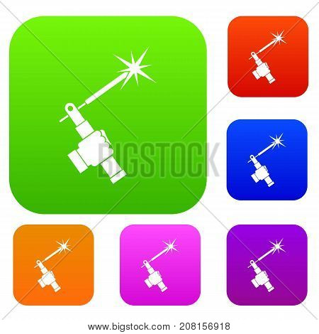 Mig welding torch in hand set icon color in flat style isolated on white. Collection sings vector illustration