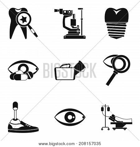 Prosthesis icons set. Simple set of 9 prosthesis vector icons for web isolated on white background