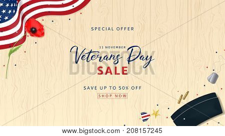 Veterans Day Sale Web Banner. Holiday Backdrop with USA Flag and Red Poppy. Top View on Sleeves, Medal, Soldier Tag and Cap on wooden texture. Vector Illustration with Confetti.
