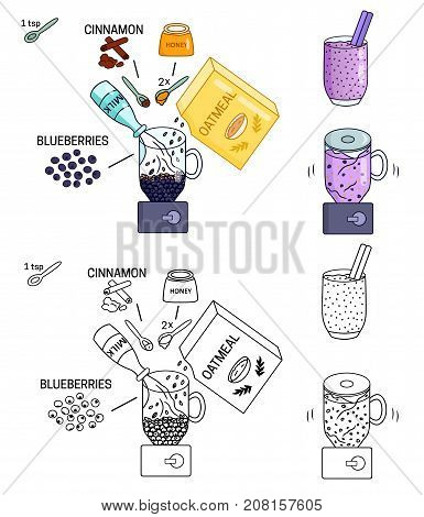 Recipe detox smoothies Blueberry drink vector diy instruction manual illustration sketch