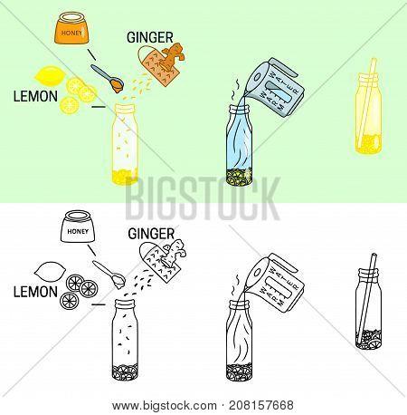 Recipe detox water lemon ginger drink vector diy instruction manual illustration sketch