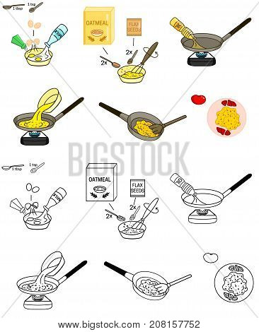 Recipe Omelet oatmeal scrambled eggs vector diy instruction illustration sketch meal food
