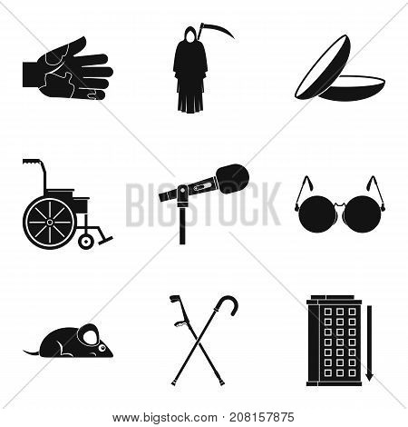 Deadly sick icons set. Simple set of 9 deadly sick vector icons for web isolated on white background