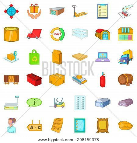 Storage icons set. Cartoon style of 36 storage vector icons for web isolated on white background