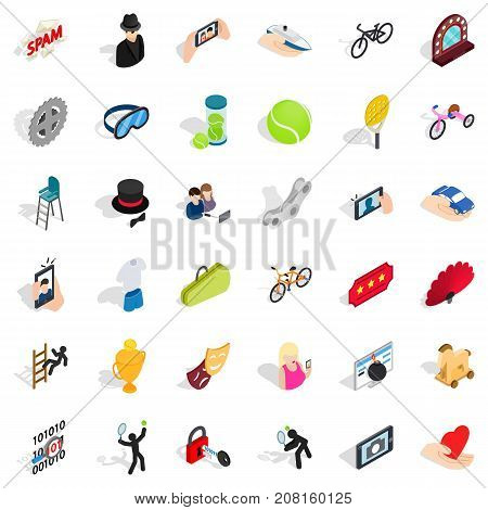 Ball icons set. Isometric style of 36 ball vector icons for web isolated on white background