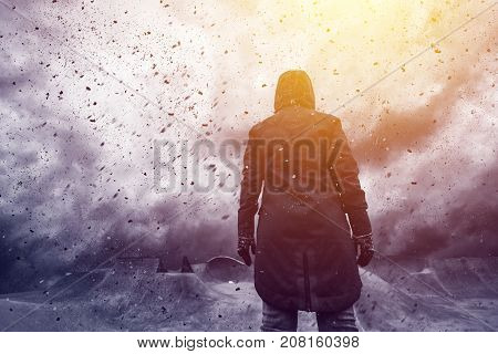 Conceptual image of young female person facing uncertain future mixed media content with dramatic stormy clouds in background
