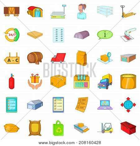 Stock icons set. Cartoon style of 36 stock vector icons for web isolated on white background
