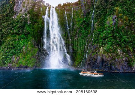 Stirling Falls At Milford Sound, New Zealand