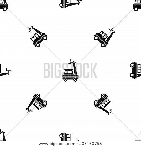 Cherry picker pattern repeat seamless in black color for any design. Vector geometric illustration
