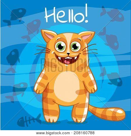 Vector illustration of cute cartoon hapy fun cat. Greeting card, postcard. Hello.