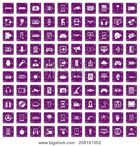 100 gadget icons set in grunge style purple color isolated on white background vector illustration
