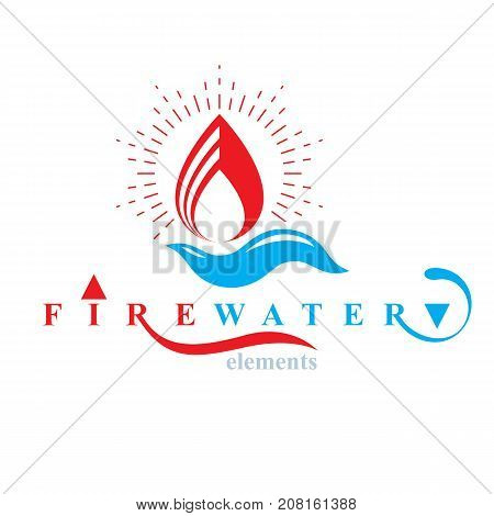 Nature elements balance conceptual emblem for use as marketing design symbol. Fire and water harmony.