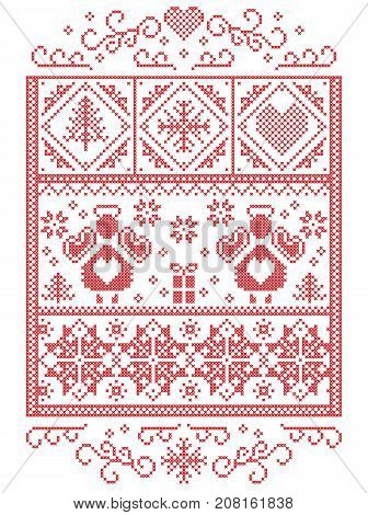 Elegant Christmas Scandinavian, Nordic style winter stitching, pattern including  Angel, snowflakes, hearts, gift, star, Christmas tree, snow and decorative ornaments in red,  in rectangle frame