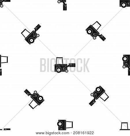 Truck to lift cargo pattern repeat seamless in black color for any design. Vector geometric illustration