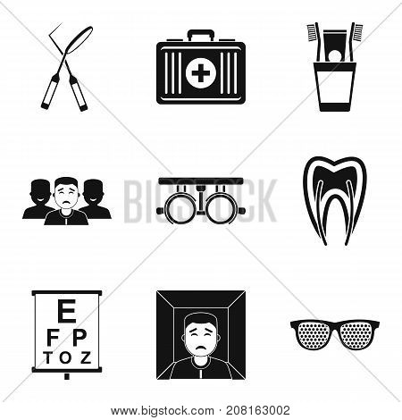 Treatment of eye icons set. Simple set of 9 treatment of eye vector icons for web isolated on white background