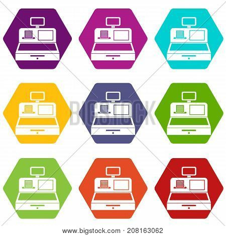 Cash register with cash drawer icon set many color hexahedron isolated on white vector illustration