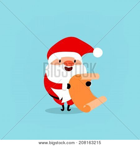Santa Claus with a scroll leaf of gifts. Cute Christmas symbol. Element from the collection of Santa Clauses with different emotions. Vector illustration isolated on light blue background.