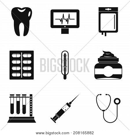 Hospital surveillance icons set. Simple set of 9 hospital surveillance vector icons for web isolated on white background