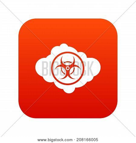 Cloud with biohazard symbol icon digital red for any design isolated on white vector illustration