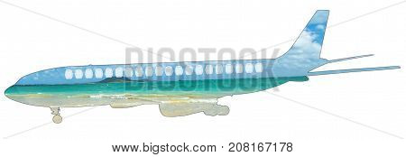 Flying to the tropics. Pictures of a turquoise and crystalline Caribbean sea on silhouette of plane. Isolated on white background with copy space. Side view. Tourism, travel and holidays concept.