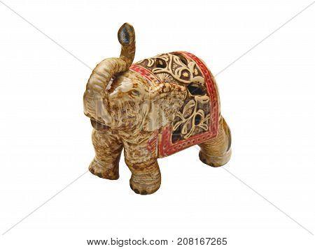 A ceramic elephant figurine over white background