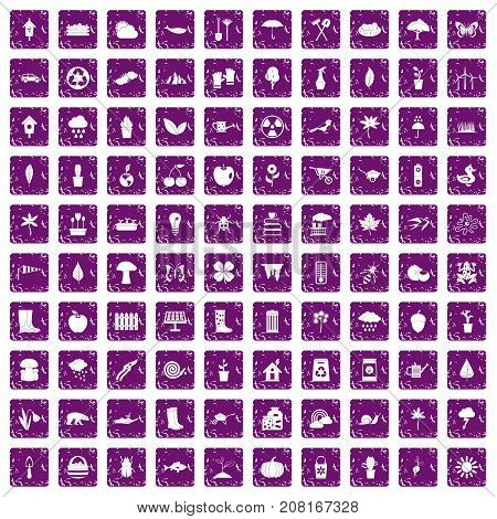100 garden stuff icons set in grunge style purple color isolated on white background vector illustration