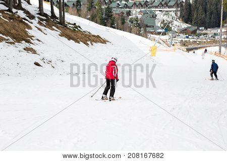 BUKOVEL, UKRAINE, March 04, 2017: snowboarder on a training slope in Bukovel, the Carpathians UKRAINE March 04 2017