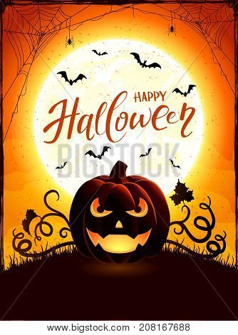 Halloween background with pumpkin. Text Happy Halloween on orange night sky with full Moon and Jack O Lantern, illustration.
