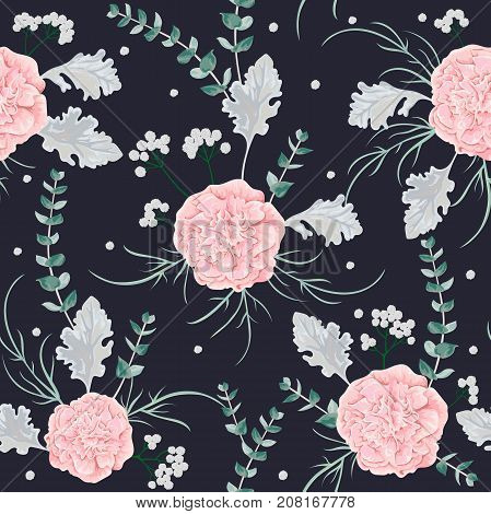 Seamless pattern with pink camellias flowers, dusty miller and eucalyptus leaf. Winter floral design for wedding invitation, card, print. Vintage hand drawn vector illustration in watercolor style