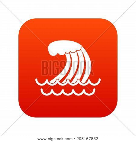 Tsunami wave icon digital red for any design isolated on white vector illustration