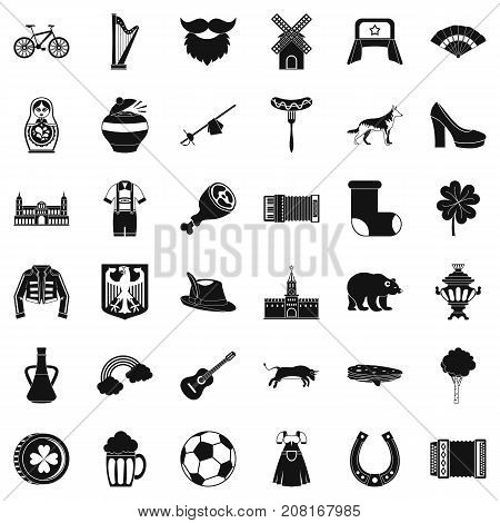 Europe icons set. Simple style of 36 europe vector icons for web isolated on white background