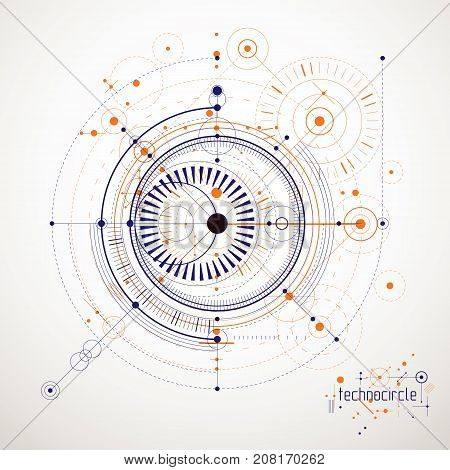 Technical plan abstract engineering draft for use in graphic and web design. Vector drawing of industrial system created with lines and circles.