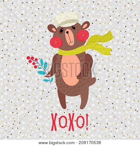 Xo-xo. Christmas teddy bear in a cap and scarf with berries in hand. Greeting card with snowy winter background and sparkles Festive Childrens Print on the poster T-shirt bag pillow for the new year