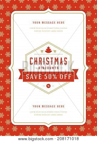 Christmas sale flyer or poster design discount offers and pattern background. Retro typography label design template. Vector illustration.