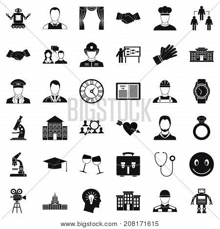 Agreement icons set. Simple style of 36 agreement vector icons for web isolated on white background